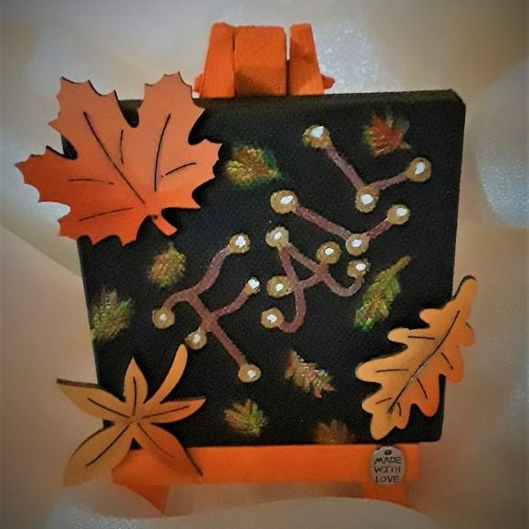 "BeaslePunk Art Original Other - Fall Fancy - 3D mini 3"" x 3"" canvas seasonal art"